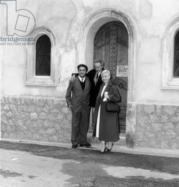 Federico Fellini and Giulietta Masina Visiting The Saint Peter Chapel in Villefranche-Sur-Mer Decorated By Jean Cocteau May 13, 1957, France during Cannes Film Festival (b/w photo)