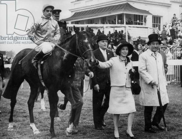 French Jockey Yves Saint Martin on Horse Relko Has Just Won The Epsom Derby here With The Wife of The Owner Mrs Dupre on June 5, 1963 (b/w photo)