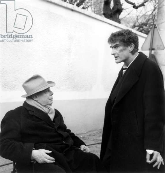 Jean Renoir and Jean Louis Barrault on Set of Film The Doctor'S Horrible Experiment January 23, 1959 (b/w photo)