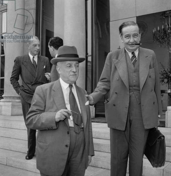 Council of ministers, Elysee, Paris, October 5, 1949 : French ministers Henri Queuille et Maurice Pestche (b/w photo)