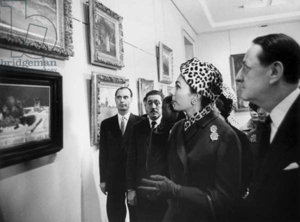 Farah Diba Pahlevi Queen of Iran With Andre Malraux, French Minister of Culture, in Paris October 12, 1961  (b/w photo)