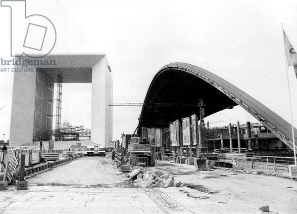 Great Arch of La Defence Area Near Paris , Inaugurated February 22, 1989 (b/w photo)