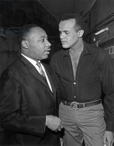 Martin Luther King and Harry Belafonte in Paris For A Gala For Fight For Civil Rights of Black People in Usa, March 29, 1966 (b/w photo)