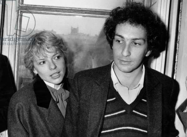 French Singer Michel Berger and his Wife France Gall during Ceremony of Medals of Charlestrenet, 1982 (b/w photo)