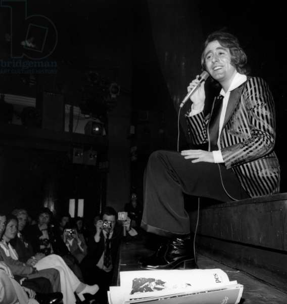 Michel Delpech on stage at Olympia, Paris, March 31st 1972 (b/w photo)