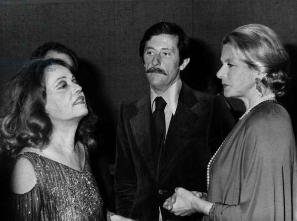 Jeanne Moreau, Jean Rochefort and Ingrid Bergman at The Gala of The Cesars (French Movie Prize) in Paris on April 5, 1976 (b/w photo)