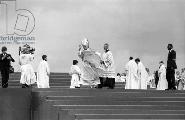 Pope John Paul Ii (Karol Wojtyla) Celebrating Mass at Le Bourget, Near Paris, June 1St, 1980 (b/w photo)