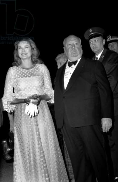 Princess Grace of Monaco and Alfred Hitchcock Arriving at Closing Session of Cannes Film Festival May 22, 1972 Grimaldi (b/w photo)