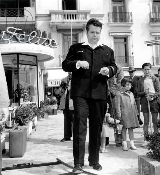 Orson Welles at Cannes Film Festival April 09, 1954 Outside Felix Restaurant (b/w photo)