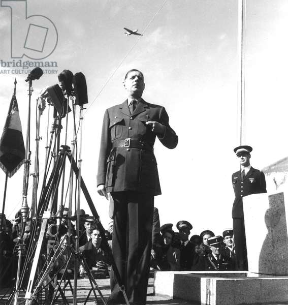 General Charles De Gaulle in Bruneval on March 30, 1947. Standing on R : Claude Gay, De Gaulle'S Aide-De-Camp (b/w photo)