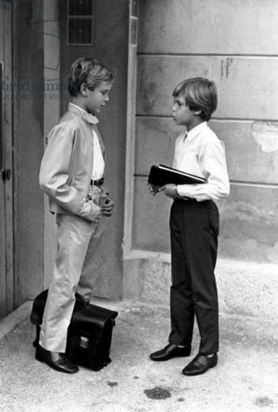 Start of The New School Year For Prince Albert of Monaco (B1958, Son of Prince Rainierdemonaco and Princessgrace, on Left, Future Albert Ii) on October 2, 1969 (b/w photo)