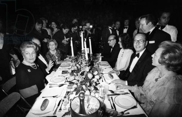 Bernadette Chirac, Countess of Paris, Jacques Chirac, at George V Hotel in Paris For April in Paris Ball April 28, 1978 (b/w photo)