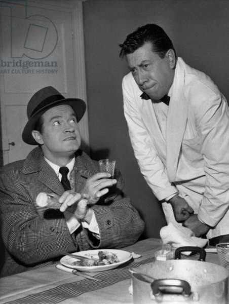 English Actor Bob Hope and French Actor Fernandel in 1957 (b/w photo)