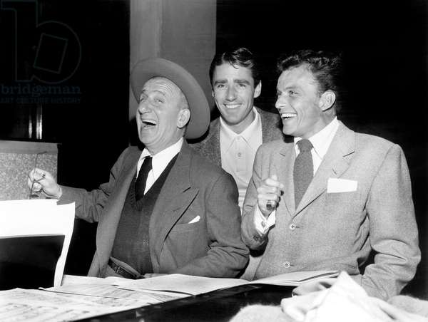 Frank Sinatra With Jimmy Durante and Peter Lawford , in Front of Them Sinatra'S Songs February 1947 (b/w photo)
