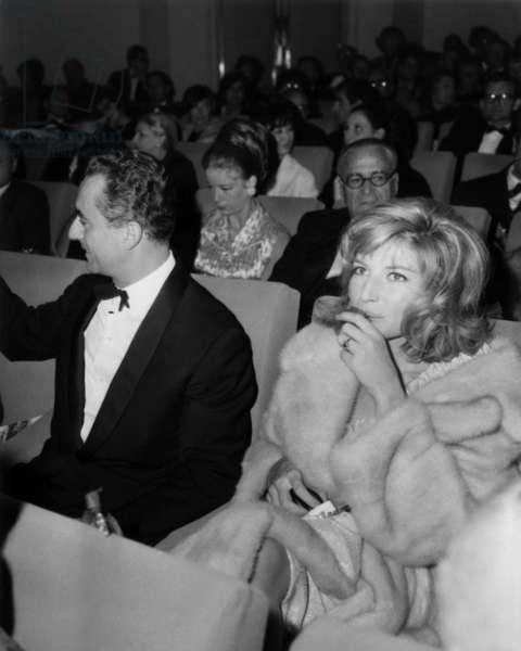 "Michelangelo Antonioni Et Monica Vitti at The Premiere of The Film ""Desert Rouge"" at Biarritz Cineman October 28, 1964 (b/w photo)"