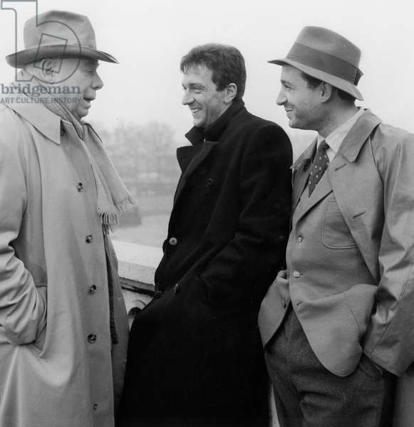 "Jean Renoir, Jean-Pierre Cassel and Claude Brasseur on Set of Film ""Le Caporal Epingle"" in Paris January 7, 1962 (b/w photo)"