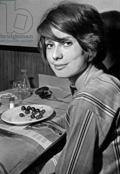 Catherine Deneuve on Set of Film The Door Slams May 27, 1960 (b/w photo)