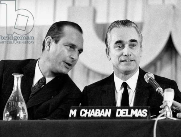 Jacques Chirac (Minister Delegate To Prime Minister) With French Prime Minister Jacques Chaban-Delmas during Parliamentary Days of Right Wing Party Udr March 24, 1972 (b/w photo)