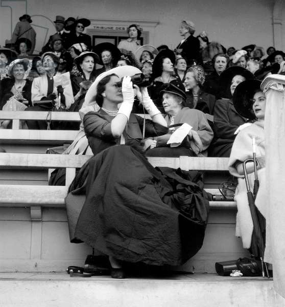 The Begum (Fourth and Last Wife of Shah Aga Khan Iii) at Horce Race in Chantilly June 7, 1953 (b/w photo)