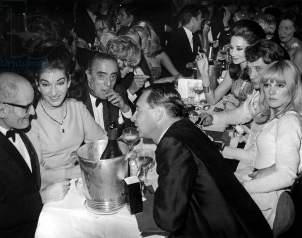 At Gala of Lido in Paris on December 21, 1966 : Sylvie Vartan, Johnny Hallyday, Viscountess Jacqueline of Ribes (R) and Georges Cravenne, Maria Callas Et Aristote Onassis (L) (b/w photo)