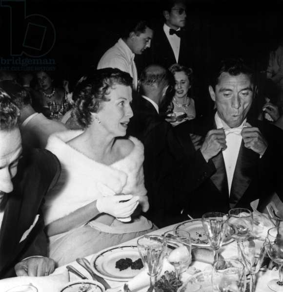 Betsy Blair and Robert Lamoureux at Charity Ball August 29, 1955 (b/w photo)