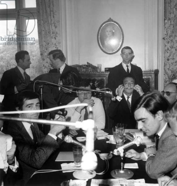 Salvador Dali With Journalist Jean Pierre Farkas (L) during Radioprogram on Rtl May 6, 1967 (b/w photo)