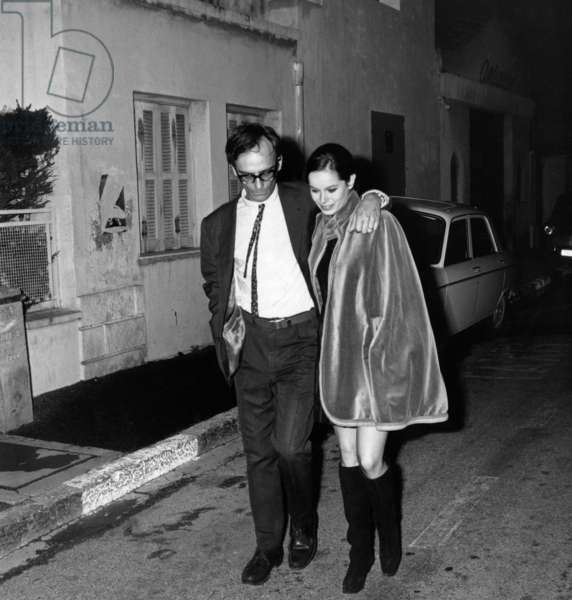 Director Carlos Saura With Geraldine Chaplin in Cannes, May 15, 1968 (b/w photo)