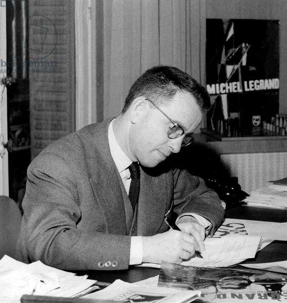 French Radio Presenter and Cabaret Director here December 12, 1958 (b/w photo)