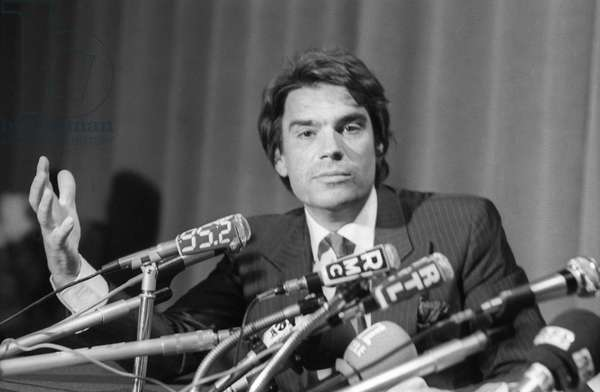 French businessman Bernard Tapie at a press conference on September 28, 1983