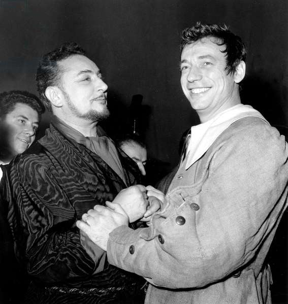 Pierre Brasseur and Yves Montand November 27, 1955 (b/w photo)