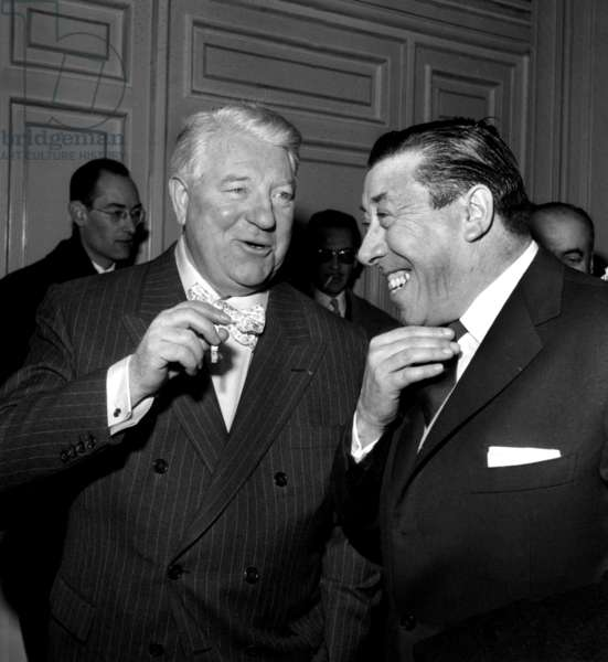 Jean Gabin and Fernandel As Witnesses at The Wedding of Henriverneuil and Francoisebonnot February 10, 1961 (b/w photo)