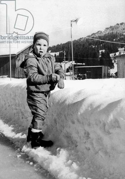 Young Prince Albert of Monaco (Future Albert Ii) at Winter Sports Snow in 1962  (b/w photo)