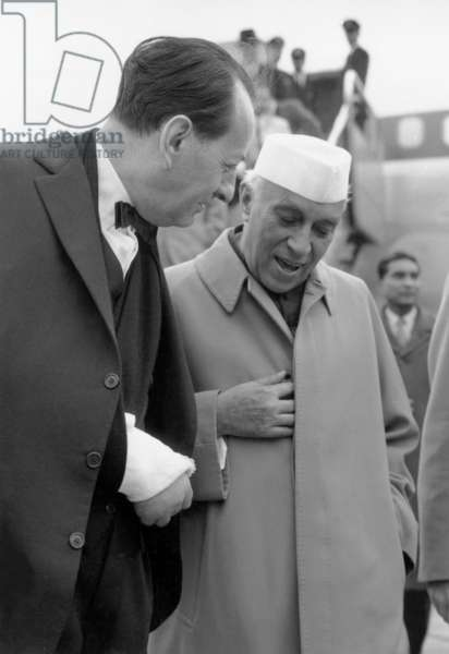 On November 18, 1961, Indian Prime Minister Jawaharlal Nehru Is Welcome By French Minister of Culture Andre Malraux (b/w photo)