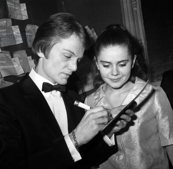 French Singer Claude Francois and Minou Drouet in his Dressing Room After his Concert at The Olympia, Paris, December 9, 1966 (b/w photo)