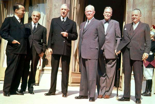 American President General Eisenhower Meeting French President De Gaulle at Elysee Palace in Paris, 1959 With L-R Michel Debre , Amory Houghton, Herve Alphand, Couve De Murville. (photo)