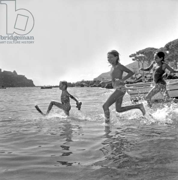 Children Playing on The Beach September 2, 1960 (b/w photo)