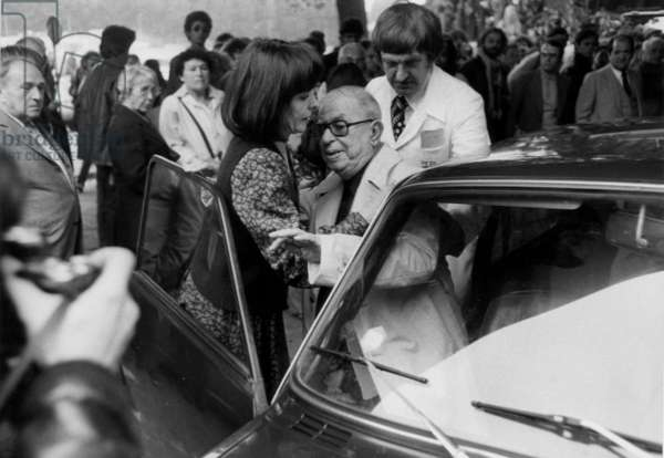 Jean Paul Sartre at Left Wing Activist Pierre Goldman'S Funerals in Paris (After his Murder) on September 27, 1979 (b/w photo)