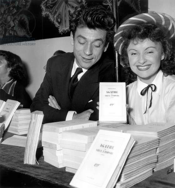 French Actress Odette Joyeux Presenting her Book Agathe at Writers National Committee Fair October 21, 1948 (b/w photo)
