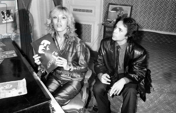 Amanda Lear and her Husband Alain Philippe Malagnac D'Argens De Villele at Opening of A Nightclub in Paris, January 4, 1980 (b/w photo)