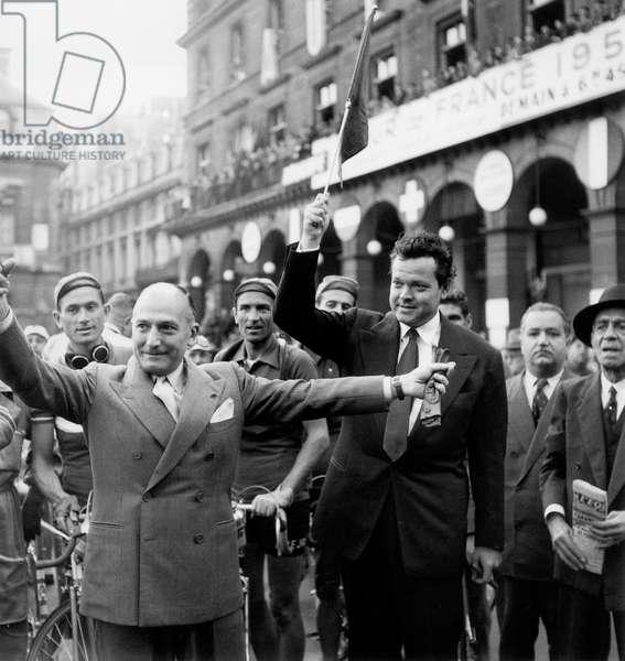 Orson Welles Giving The Start of Tour De France, Paris, July 13, 1950 (b/w photo)