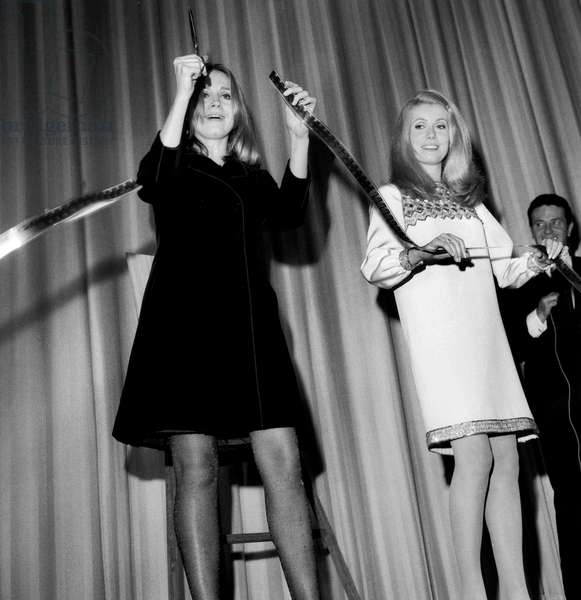 French Actresses Catherine Deneuve and Francoise Dorleac (Sisters) at Opening of New Movie Theatre Translux-Pulman in Paris November 9, 1966 (b/w photo)