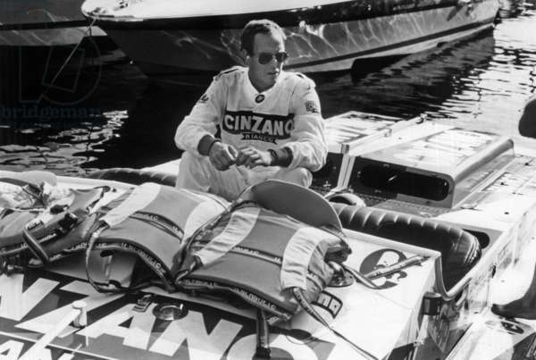 Prince Albert of Monaco (Future Albert Ii) on Powerboat August 8, 1985 (b/w photo)
