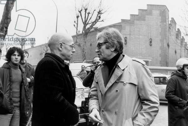 French Philosopher Michel Foucault and Journalist Maurice Clavel in Front of The Renault Factory After The Murder of Pierre Overney February 28, 1972 France (b/w photo)