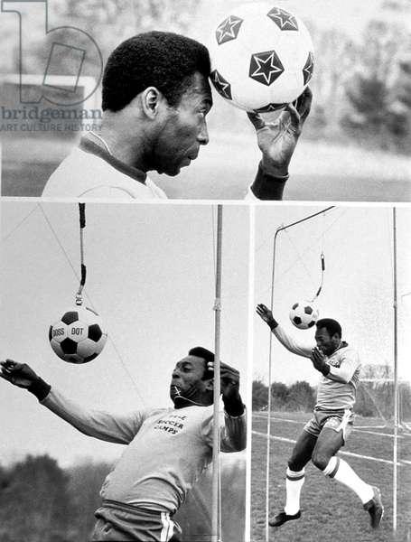 Training of Brazilian Footballer Pele C. 1967 (b/w photo)