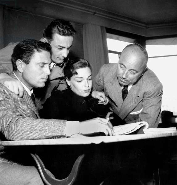 Raf Vallone, Simone Signoret, Marcel Carne and Roland Lesaffre on Set of Film Therese Raquin February 21, 1953 (b/w photo)
