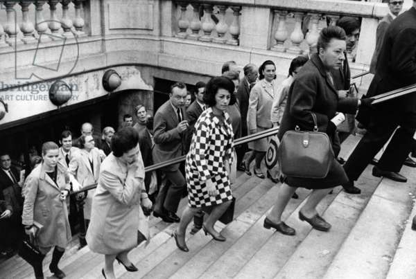 The First Users Of The Metro To The Opera Station For Work After The Greve Of Public Transport, June 6, 1968 (b/w photo)