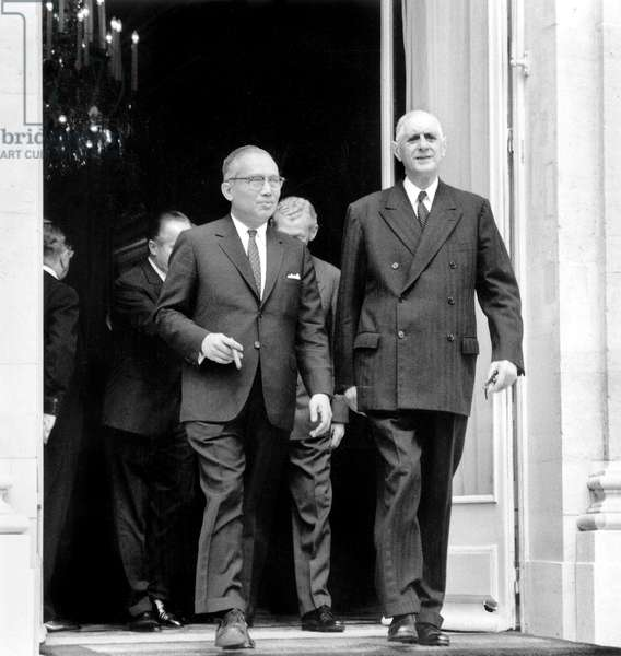 Talks Between French President De Gaulle With Mr U. Thant, General Secretary of United Nations and Representative of Burma, here at Elysee Palace July 21, 1964 (b/w photo)