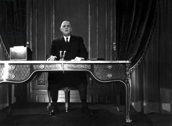 French President Charles De Gaulle Recording A Speech on December 31, 1960 (b/w photo)