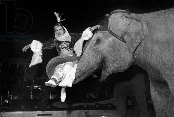 Medrano circus, Paris, February 5, 1954 : dancer and elephant (b/w photo)