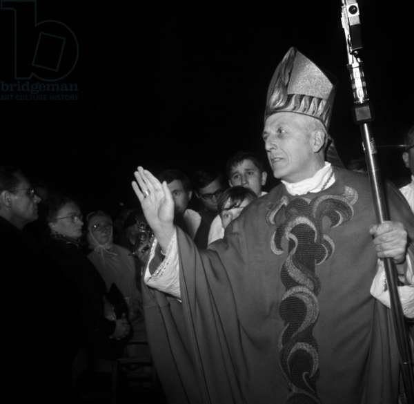 Francois Marty Ordered New Archbishop of Paris at Notre Dame Cathedral May 03, 1968 (b/w photo)